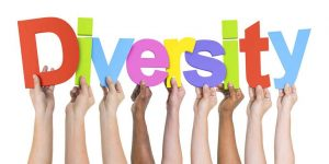The word DIVERSITY held up by hands of varying skin tones